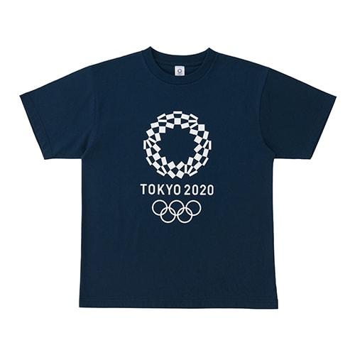 プリント Tシャツ YO-130(東京2020 オリンピックエンブレム) (イ)ネイビー