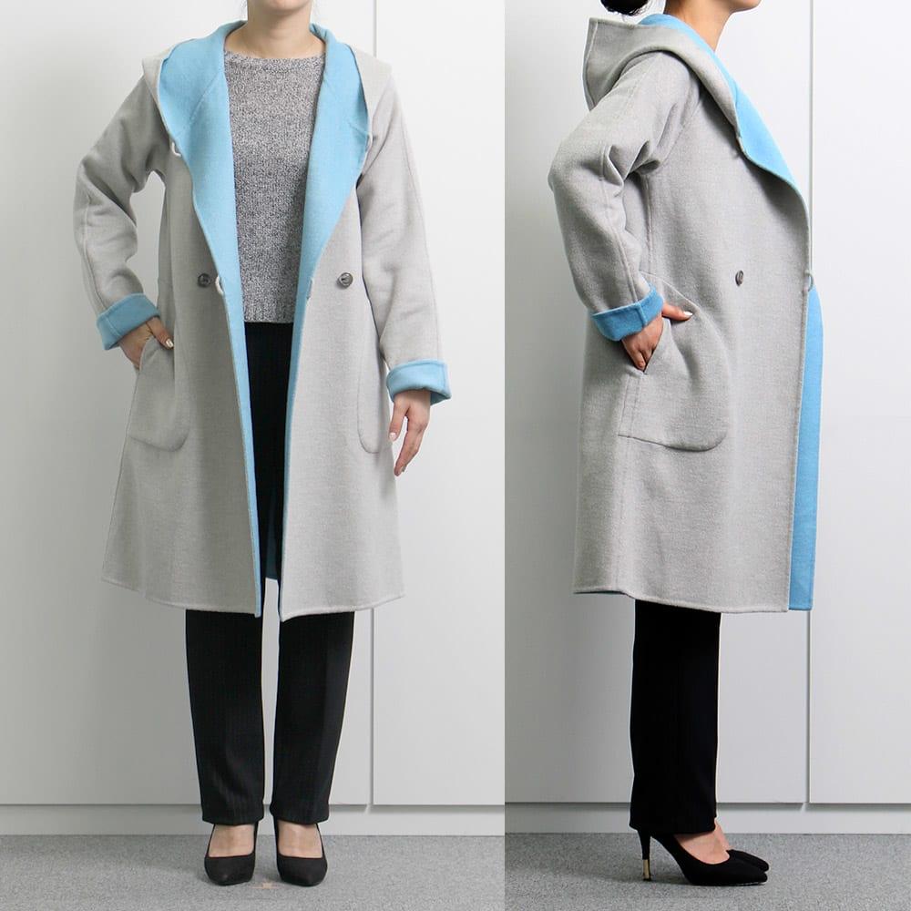 ダブルフェイスリバーシブルコート (モデル身長:155cm 着用サイズ:S)「軽くて暖かいです。色がかわいくて気に入りました。」