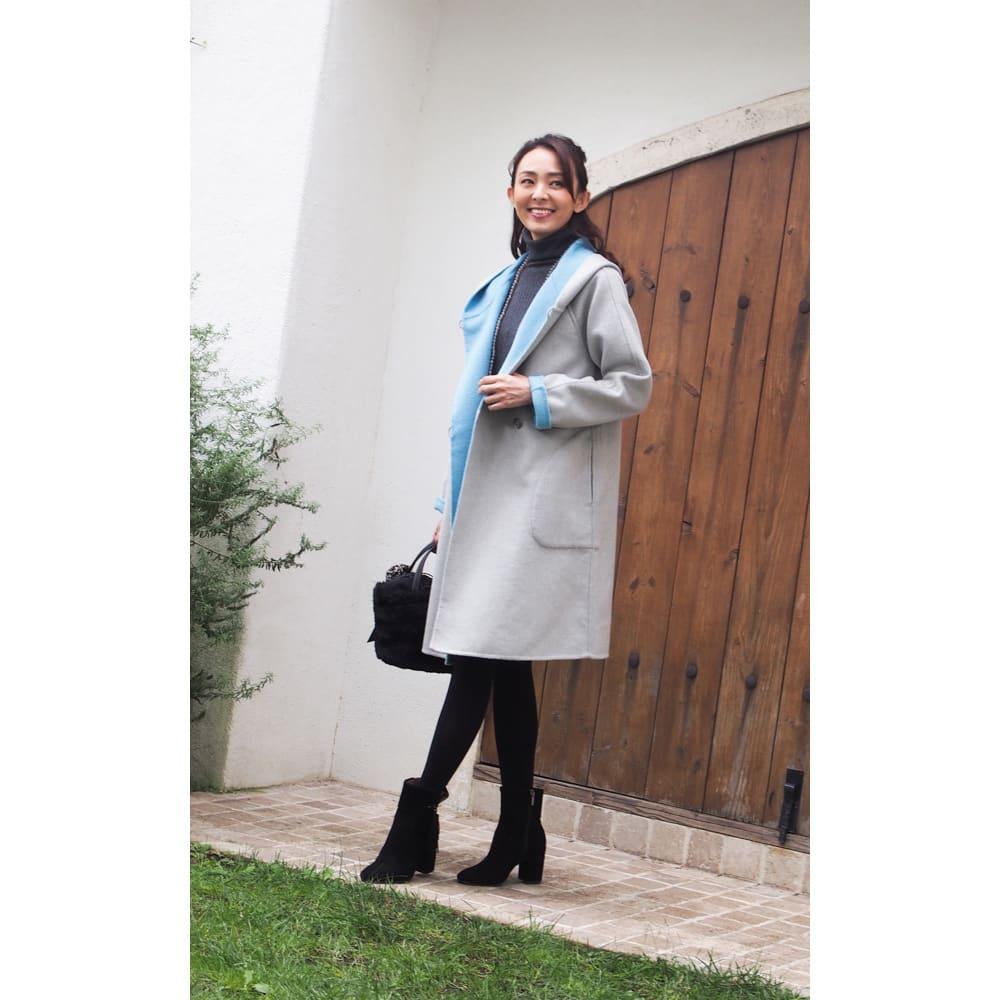 ダブルフェイスリバーシブルコート サラッと軽やかに着られて、暖かい!厚手のコートはまだ早い時期から真冬、春先まで3シーズン楽しめます。