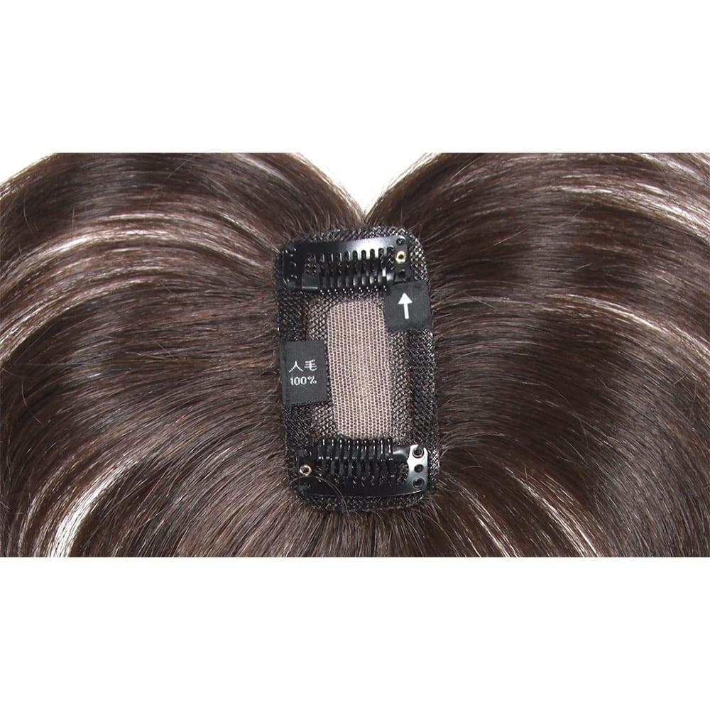 人毛100%ファッションウィッグ(部分タイプ) 2ヵ所のピンで自毛に留め、ブラシでなじませるだけ!初めての方も、簡単に着けられます。