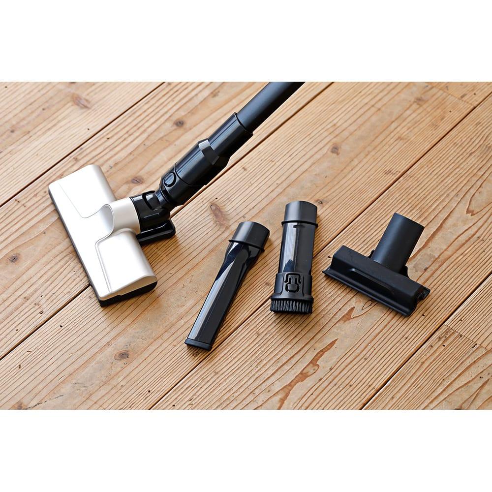 siroca/シロカ 超軽量コードレス スティッククリーナー 隙間ノズルやブラシ付きノズル、さらに布団ノズルもセット。コレ1台で家中のお掃除ができます。
