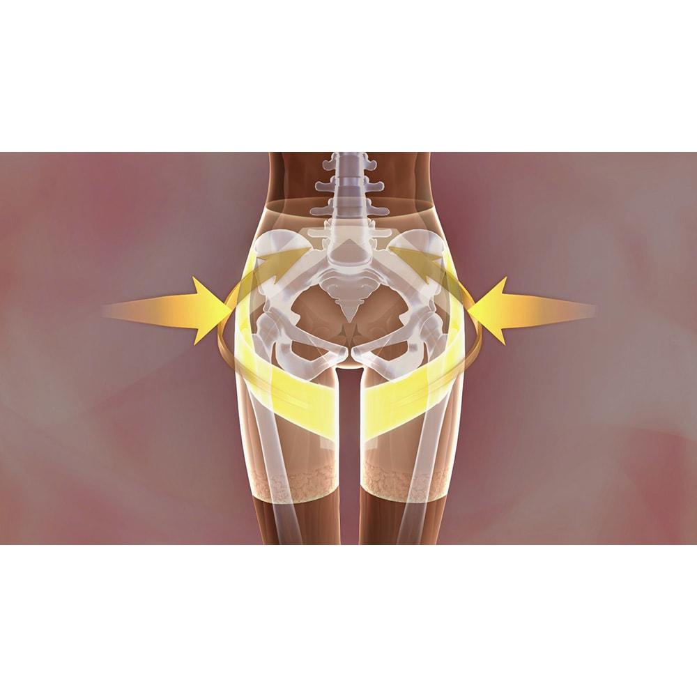 芦屋美整体 骨盤プロリセットショーツ ビューティー 外開き対策:サイドパネルと太腿ベルトが外開きを内側へ優しくホールドします