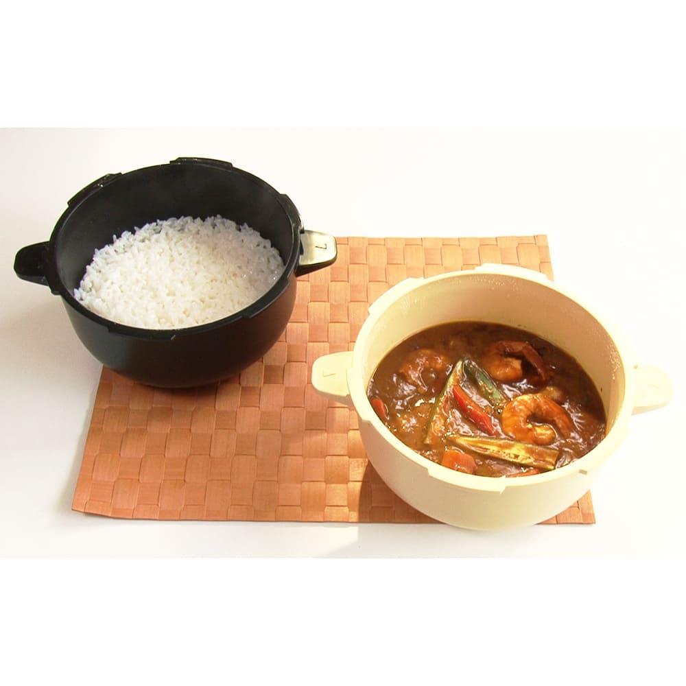 MEYER/マイヤー 電子レンジ圧力鍋 《2個使い》ご飯を蒸している間にカレーを作れば効率的!