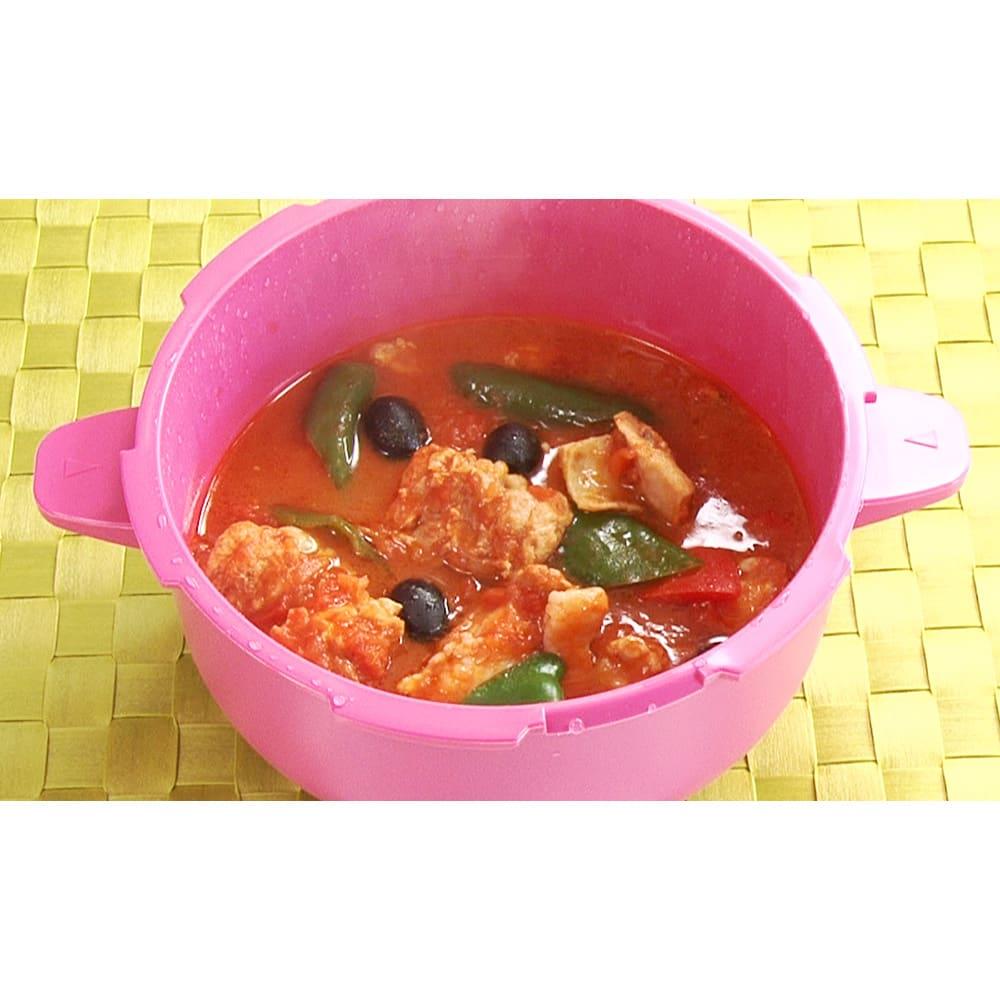 MEYER/マイヤー 電子レンジ圧力鍋(色が選べるお得な2個組) 【調理例】★チキンと野菜のトマト煮