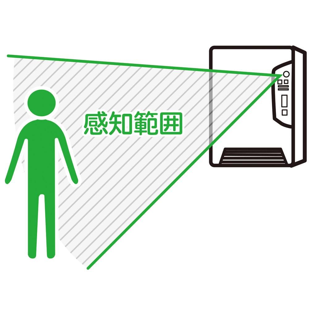人感センサー付 壁掛け脱衣所ヒーター 感知範囲に人が入ると自動的に運転。退出後約5分で停止します。