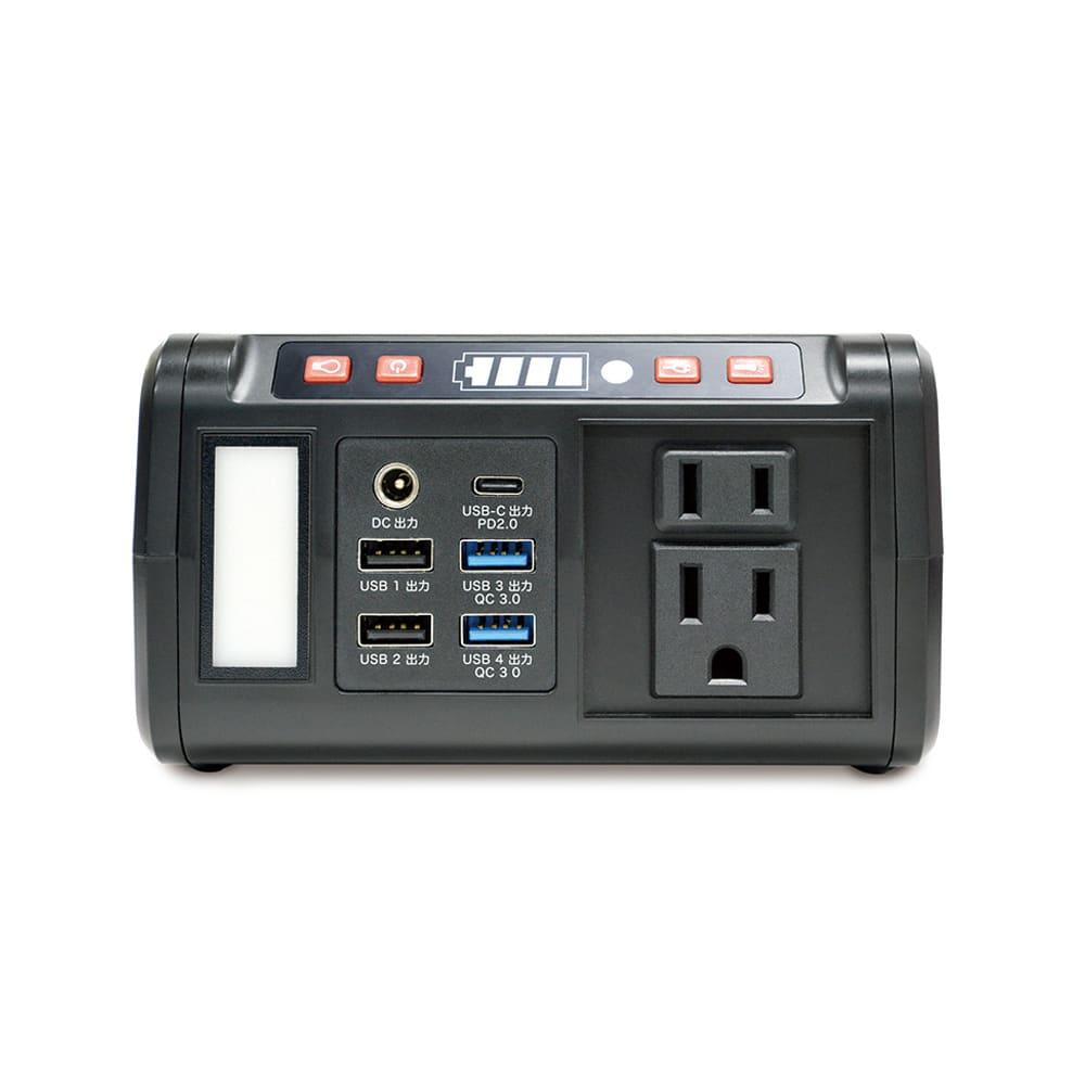 メガパワーバンク・ソーラーパネルセット ACコンセント・USB出力・DC出力・LEDランタン・2灯式LEDを搭載