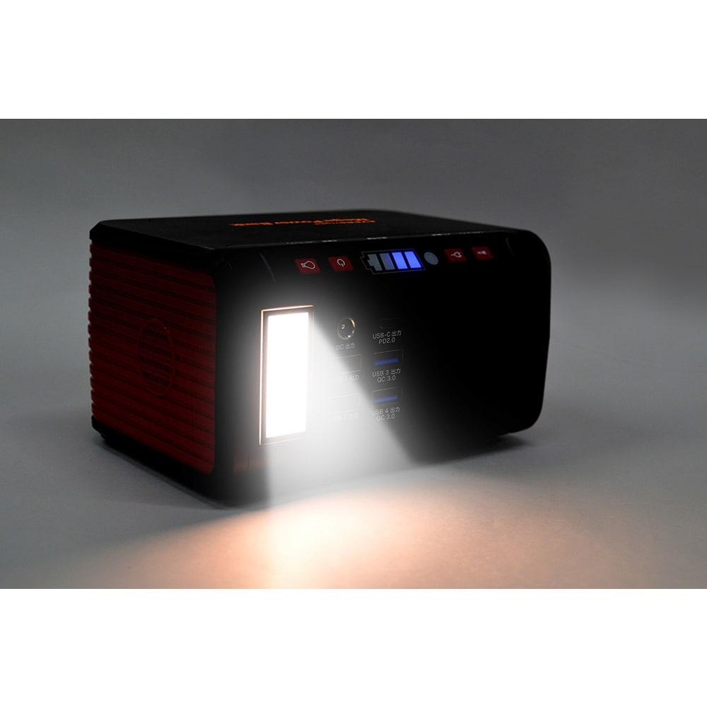 メガパワーバンク・ソーラーパネルセット 近くを灯せるランタン。明るさ2段階