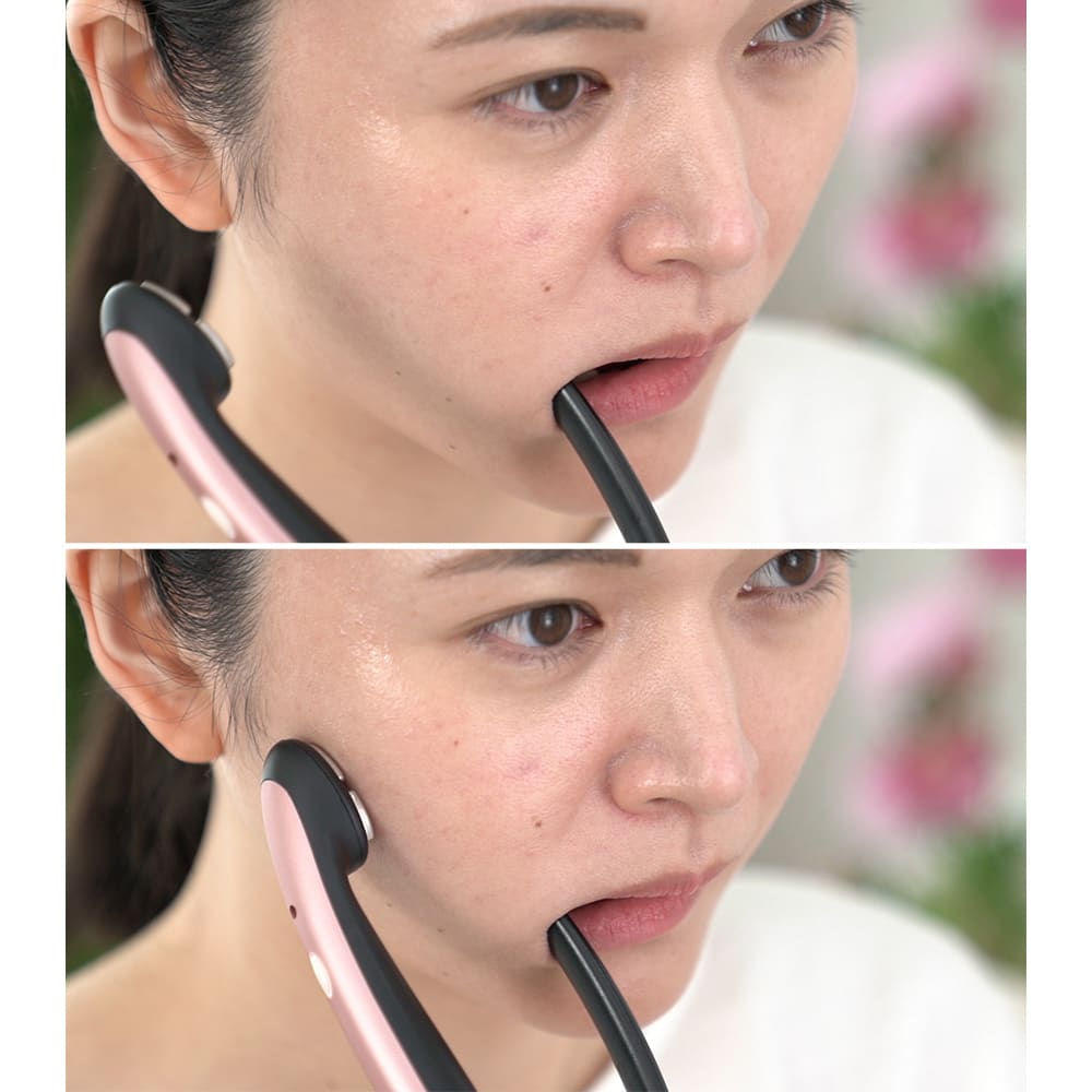 ミリオンスマイル ターボ(フェイスマスク付) 水またはジェルでケアしたい部分を濡らします。口に挟みこむようにして深層美人筋をダイレクトに刺激!1分あてるだけでいいんです!(オートオフ機能付き)