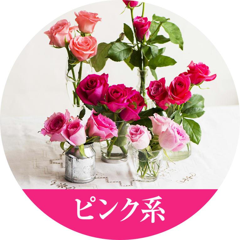 ピンクのバラの花言葉は、「しとやか」、「上品」、「感銘」など。また、ピンクは柔らかいイメージから、安らぎや幸せな気分にさせてくれる色です。可愛らしい方におすすめの色です。