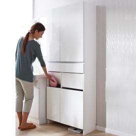 組立不要 洗濯カゴ付き2in1光沢サニタリー収納庫 ハイタイプ 幅73cm