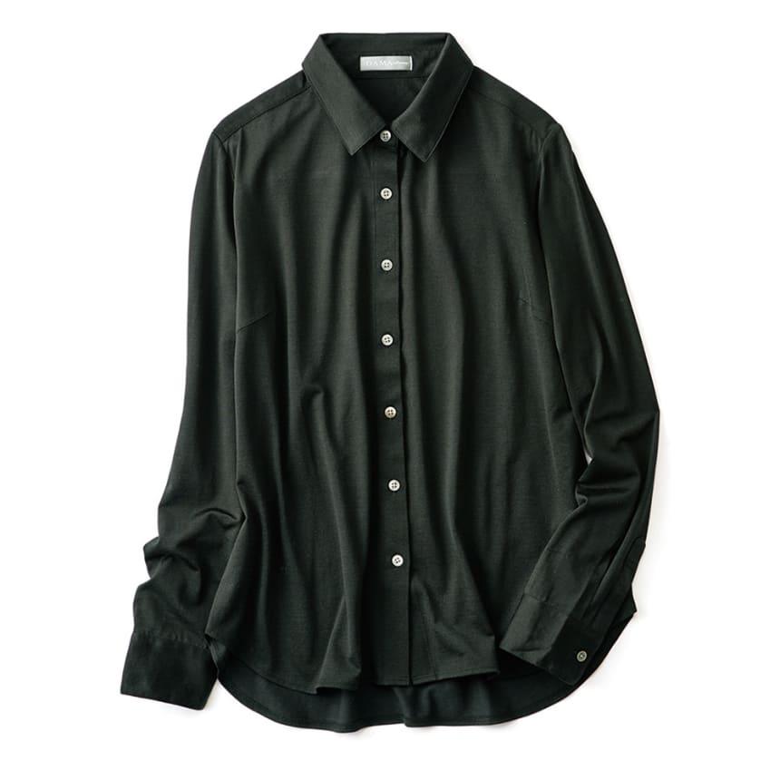 洗えるフィラメントシルク コットンジャージー シャツ