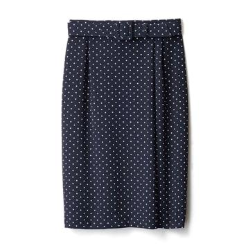 【E】ドットプリント ラップ風 セミタイトスカート