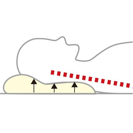 枕専用に開発されたややソフトなブレスエアー®を、人体に沿う形状に成形。