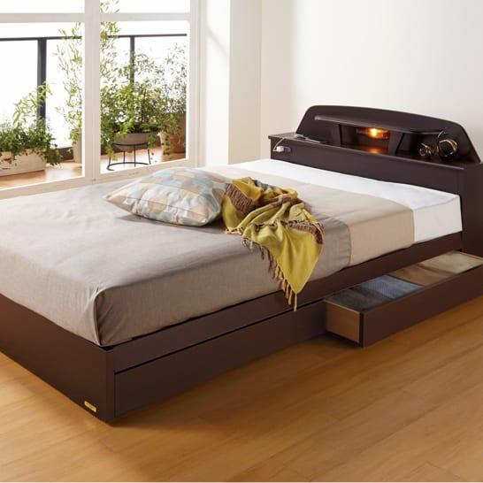 【シングル・レギュラーマット】フランスベッド棚照明付きベッド