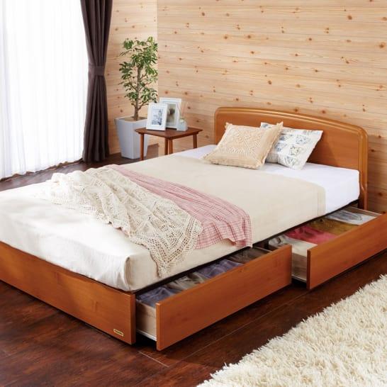 【シングル・羊毛綿入りマット】フランスベッド BOX引き出し付きベッド