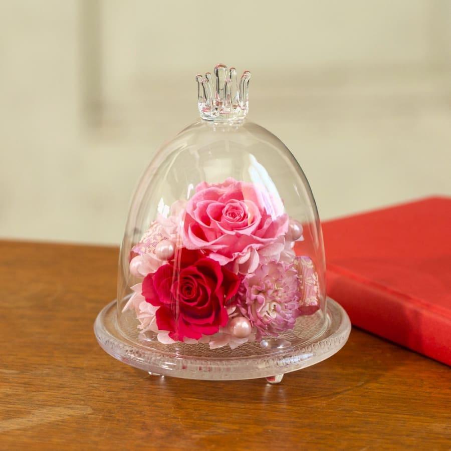 【母の日ギフト】ガラスドームのプリザーブドローズ(ピンク系)<br> 5,500円(税込)