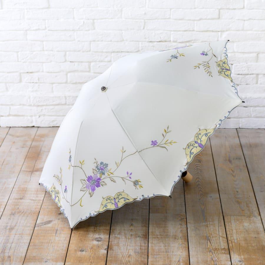【母の日ギフト】ミニ折り畳み日傘花鳥刺繍 晴雨兼用二重張り<br>6,930円(税込)