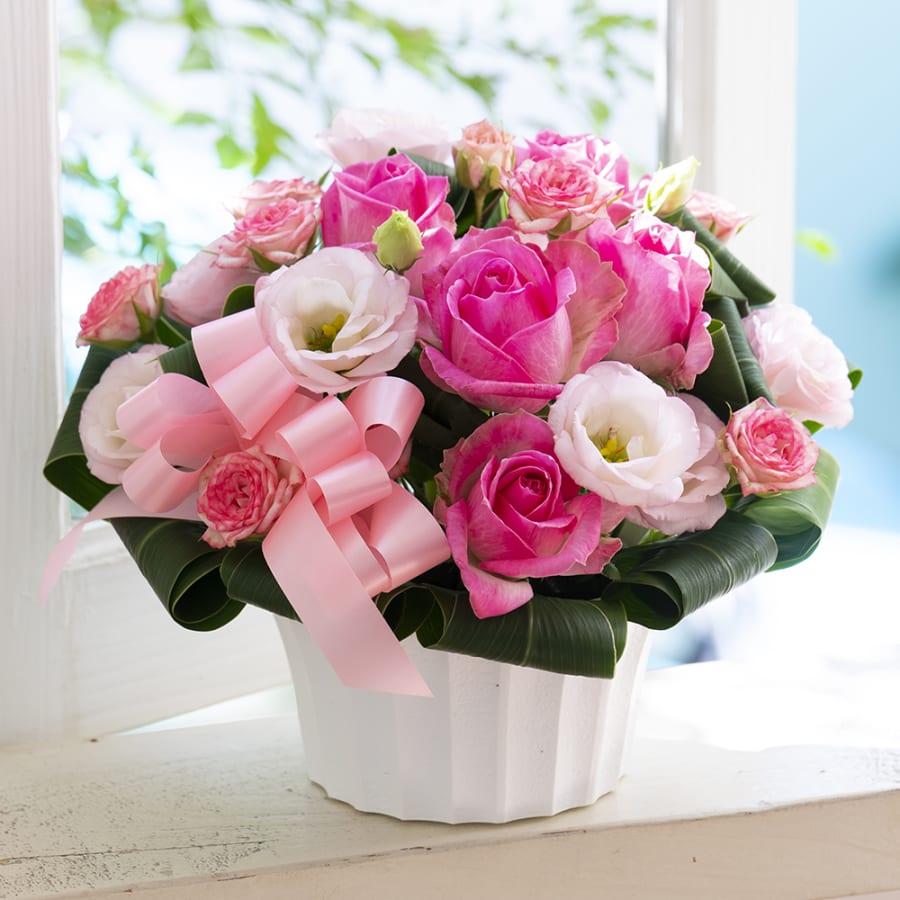 【母の日花ギフト】ピンクのバラのアレンジメント<br> 5,500円(税込)