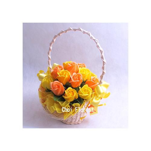 黄色とオレンジ系バラのソープフラワー大<br>5,500円(税込)