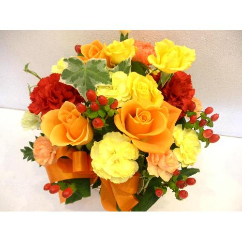 〜パレオ〜オレンジのバラのアレンジメント<br>3,850円(税込)