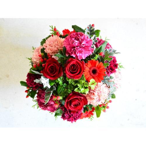 赤バラを入れて、華やか&シックなアレンジ<br>6,600円(税込)