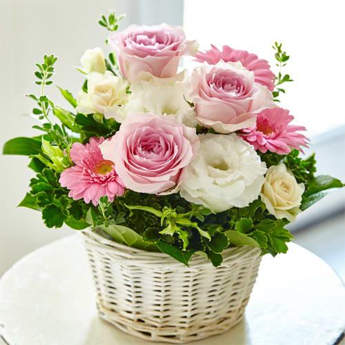 2位<br>【送料無料】ピンク&ホワイトローズアレンジメント<br> 3,850円(税込)