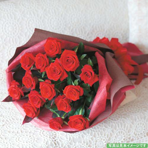 【送料無料】赤バラ(15本)のスタイリッシュブーケ<br>8,800円(税込)
