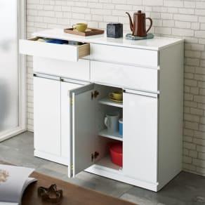 光沢仕上げ腰高カウンター収納シリーズ キッチン収納庫 幅109.5cm