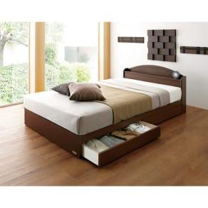 【シングル】フランスベッド天然木棚付き引き出しベッド
