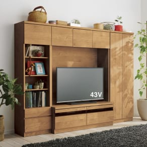 天然木調テレビ台ハイバックシリーズ オープンキャビネット・幅45.5奥行34.5cm