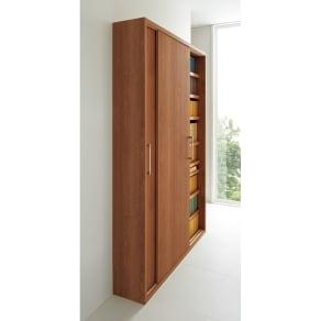 天然木調引き戸本棚 幅78cm奥行25cm