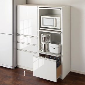 隠せるキッチンラック シンプルキッチンストッカー食器棚 高さ150cm