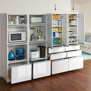 隠せるキッチンラック シンプルキッチンストッカー食器棚 高さ180cm