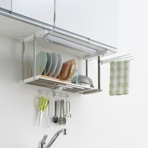 《1段タイプ》はさむだけで取り付けラクラク 幅伸縮キッチン戸棚下収納