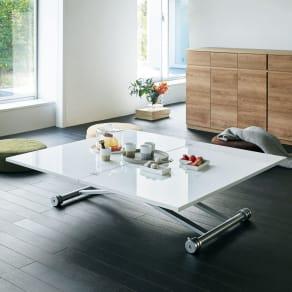 伸長式ガス圧昇降テーブル 幅120(天板110)cm