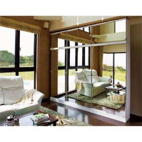 効率収納できる段違い棚シェルフ [突っ張り上置き ミラー扉タイプ 引き戸 幅90cm] 上置き高さ54.5cm