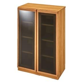 【完成品】扉が選べるオーク材のモダン本棚 ガラス扉 幅60cm