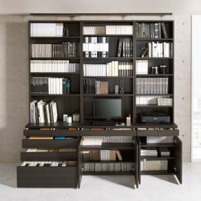 モダンブックライブラリー 天井突っ張り式 デスクタイプ 幅80cm