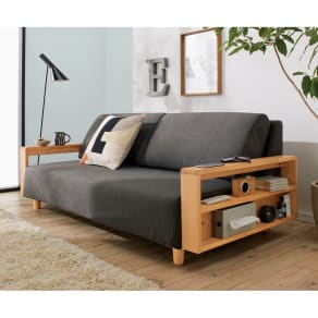 高さが調節できる北欧デザイン天然木カバーリングソファ 幅180cm(3人掛け)
