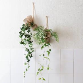ピンで飾れる 消臭機能付き ミニグリーン 2種セット