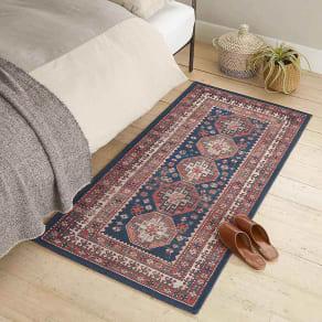 ロングマット・約74×150cm(イタリア製ペルシャ絨毯風ヴィンテージプリントラグ〈オリエンテ〉 ブルー)