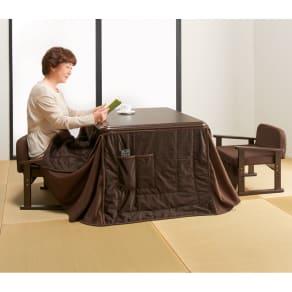 【正方形】組立不要 和モダンこたつセット 本体(58×58cm+和座椅子+布団3点セット