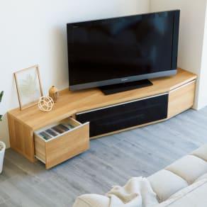 住宅事情を考えた天然木調コーナーテレビ台 右コーナー用 幅165cm