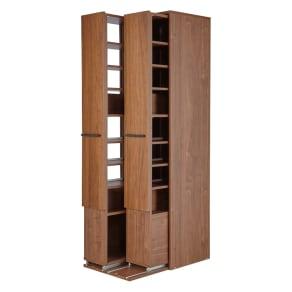 本格派 スライド収納書棚 書棚 2列・幅55cm