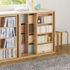 組立不要 たっぷり収納できる天然木調スライド本棚 3重 幅90cm