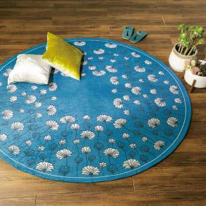 イタリア製ジャカード織りラグ〈カリーナ〉円形