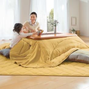 【正方形】190×190cm ふっくら贅沢ボリューム 省スペースこたつ敷き(厚さ約1.5cm)