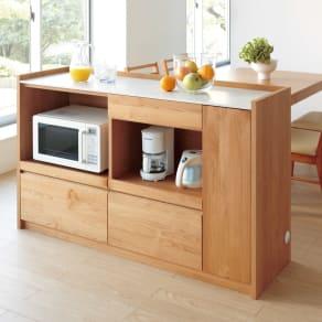 アルダー天然木人工大理石トップ 間仕切り家電収納キッチンカウンター 幅144cm