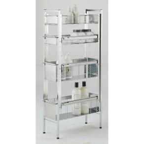 ステンレス洗濯機サイドラック 4段 幅20.5cm高さ103.2cm