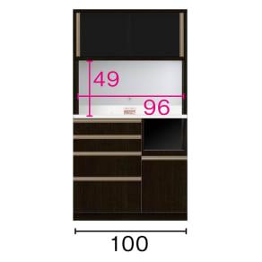 キッチンボード 幅100奥行45高さ186cm(高機能 モダンシックキッチンシリーズ)